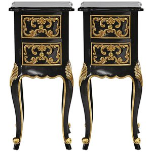 Princess Josephine's French Baroque Petite Bedside Table: Set of Two