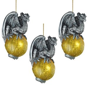 Protector of the Gothic Portal Celtic Dragon 21 Holiday Ornament: Set of 3