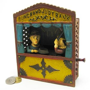 Punch and Judy Theater Collectors' Die Cast Iron Mechanical Coin Bank