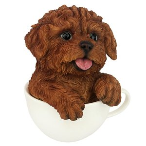 Puppuccino Puppy Dog Statue Red Poodle