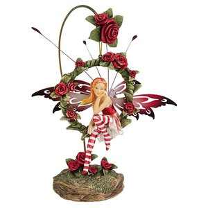 Radiant Rose Dangling Fairy Sculpture with Stand