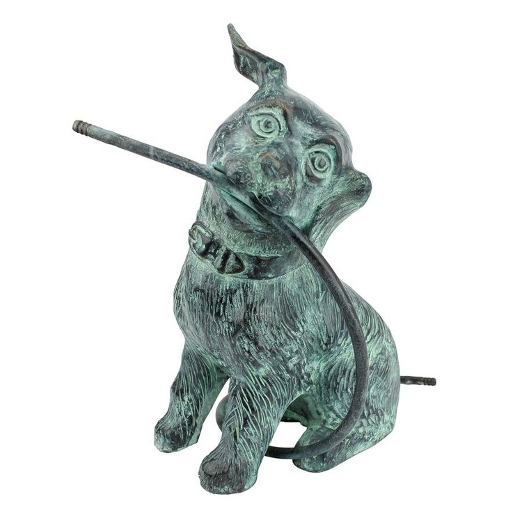 View larger image of Raining Dogs Bronze Piped Garden Statue: Emerald Verde Patina