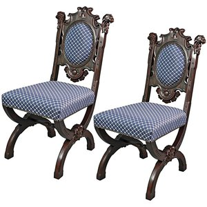 Sir Raleigh Hand-Carved Medieval Dining Chair: Set of Two