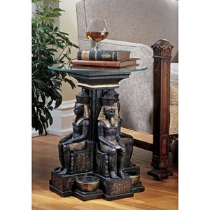Ramses II Egyptian Sculptural Glass-Topped Table