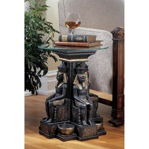 Ramses II Egyptian Sculptural Glass-Topped Table: Set of Two