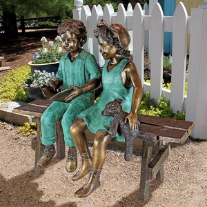 Read to Me, Boy and Girl on BenchCast Bronze Garden Statue