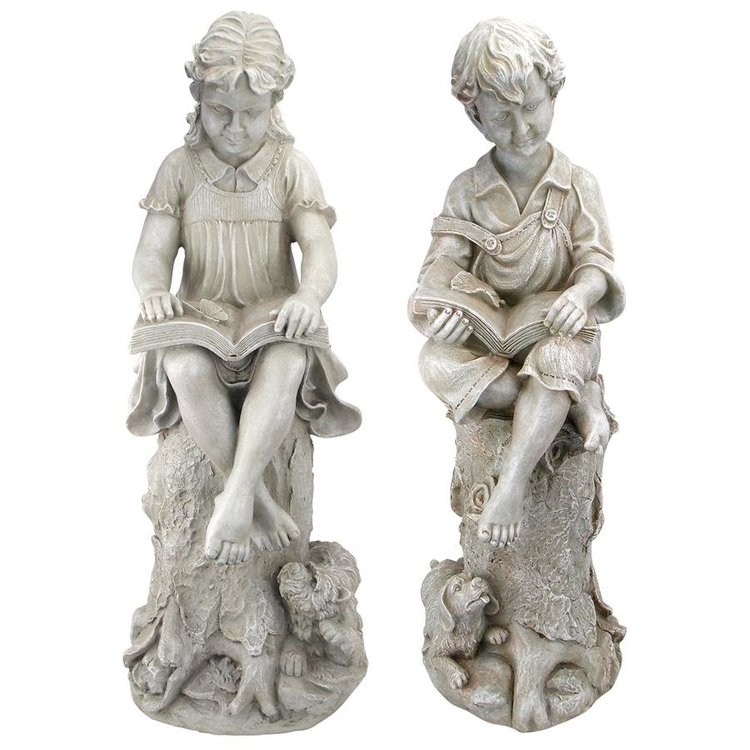 View larger image of Sierra & Sebastian the Reading Child Garden Statues: Set of Two