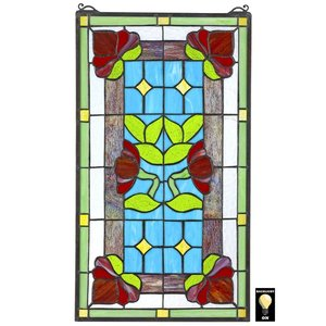 Red Anemone Tiffany-Style Stained Glass Window