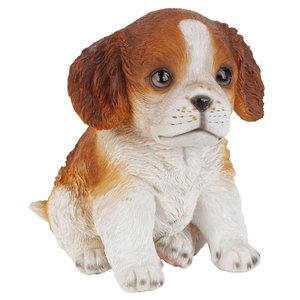 Red & White Cavalier King Charles Puppy Partner Collectible Dog Statue