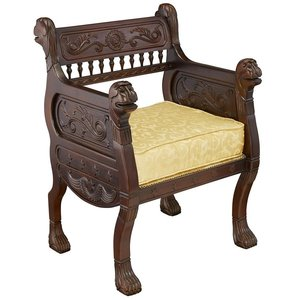 Regency Style Royal Lions Hand-Carved Throne Chair