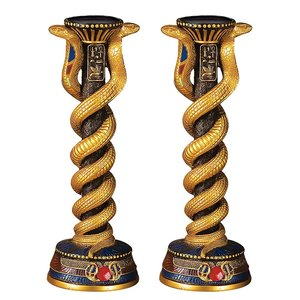 Renenutet, the Cobra Goddess Altar Candlestick and Candle (Set of Two)