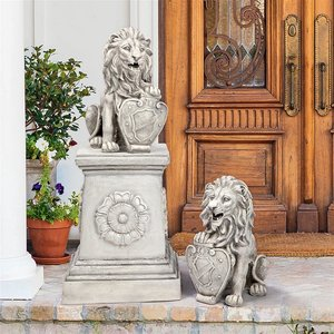 Roaring Beasts of Castello di Rocca Lion Sentinel Statues: Set of Two