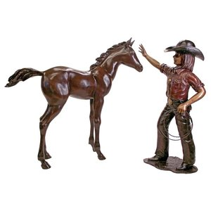 Rodeo Dreams: Cowgirl with Horse Cast Bronze Garden Statue Set
