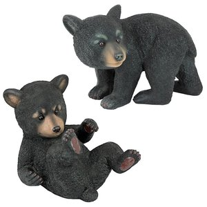 Roly-Poly Bear Cub Statues: Set of Two