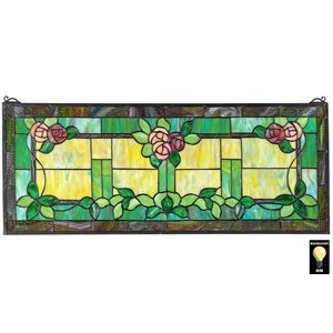 Rose Trellis Tiffany-Style Stained Glass Window