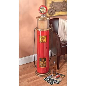 Route 66 Gas Pump Floor Lamp and Collectible Cabinet