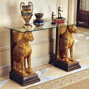 Royal Egyptian Cheetahs Sculptural Glass-Topped Console