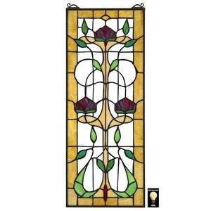 Ruskin Rose Three Flower Tiffany-Style Stained Glass Window