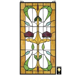 Ruskin Rose Two Flower Tiffany-Style Stained Glass Window