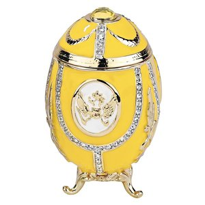 Russian Imperial Eagle Romanov-Style Enameled Eggs Collection: Lemon Yellow