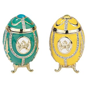Russian Imperial Eagle Enameled Eggs Collection: Set of Two