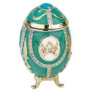 Russian Imperial Eagle Romanov-Style Enameled Eggs Collection: Teal Green