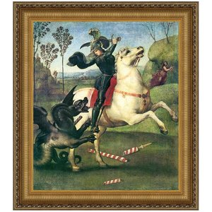 Saint George Fighting the Dragon, 155: Canvas Replica Painting: Large