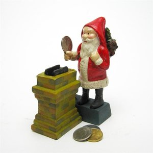 Santa at the Chimney Collectors' Die Cast Iron Mechanical Coin Bank