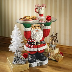 Santa Claus Sculptural Glass-Topped Holiday Table