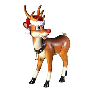 Santa's Red-Nosed Christmas Reindeer Statue: Standing Large