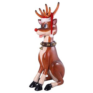 Santa's Giant Red-Nosed Christmas Reindeer Statue