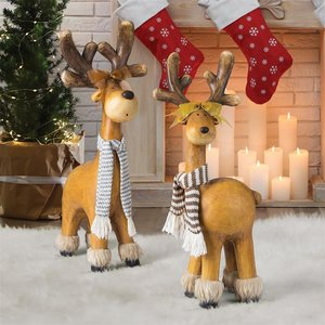 Santa's Second Team Holiday Reindeer Statues: Set of Two