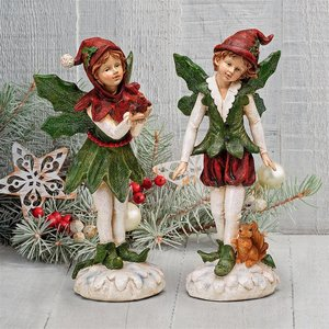 Santa s Victorian Holly Christmas Elves Statue Set of Two
