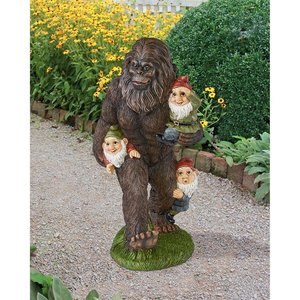 Schlepping the Garden Gnomes Bigfoot Statue