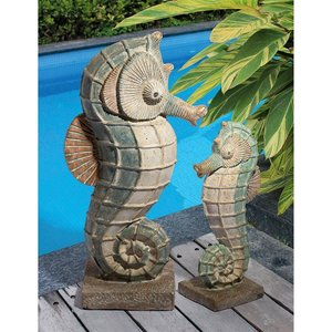 Sea Biscuit Seahorse Marine Fish Family Statue Collection: Set