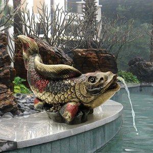 Showa Asian Koi Spitter Piped Statues