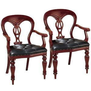 Simsbury Tufted Leather Arm Chair Set 2