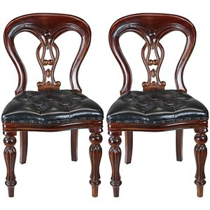 Simsbury Tufted Leather Side Chair Set 2