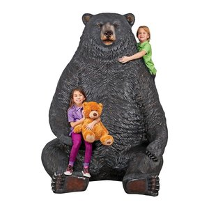 Sitting Pretty Oversized Black Bear Statue with Paw Seat