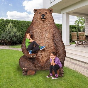 Sitting Pretty Oversized Brown Bear Statue with Paw Seat