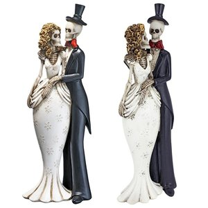 Day of the Dead Skeleton Bride and Groom Statue: Set of Two