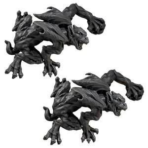 Slither and Squirm Gargoyle Wall Sculpture: Set of Two