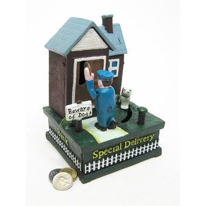 Special Delivery Mailman Authentic Foundry Iron Mechanical Bank