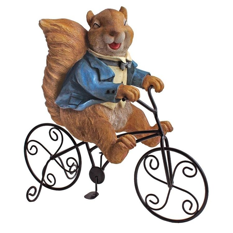 View larger image of Special Delivery: Squirrel Bicycle Messenger Garden Statue