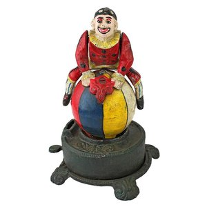 Spinning Acrobat Clown on Globe Authentic Iron Mechanical Bank