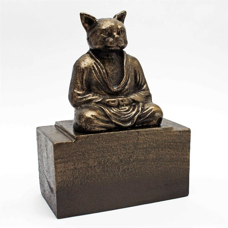 View larger image of Meditating Asian Cat Cast Iron Feline Bookend