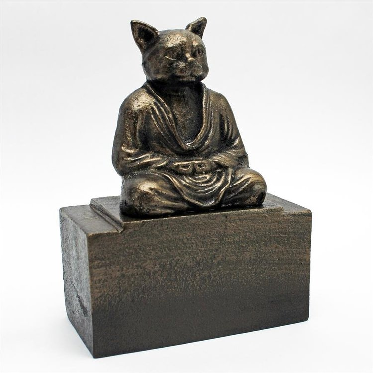 View larger image of Spirit of Zen: Meditating Cat Cast Iron Bookend: Set of Two