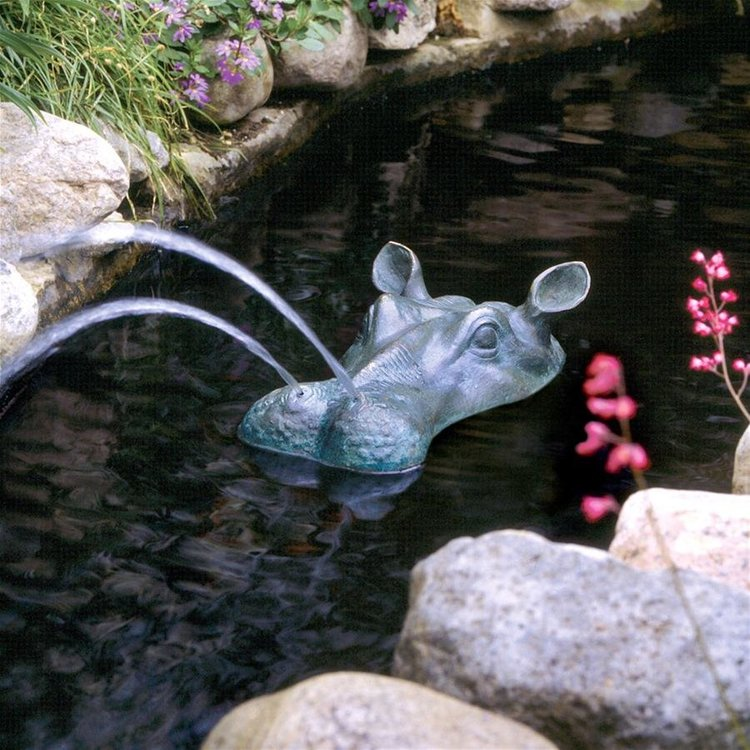 View larger image of Spitting Hippo Head Solid Bronze Garden Statue