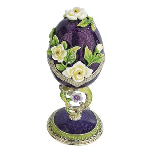 Spring Bouquet Collection Romanov-Style Enameled Egg: Purple Salvia