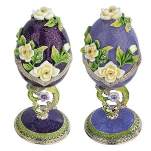 Spring Bouquet Collection: Romanov-Style Enameled Eggs: Set of Lavender & Purple Salvia